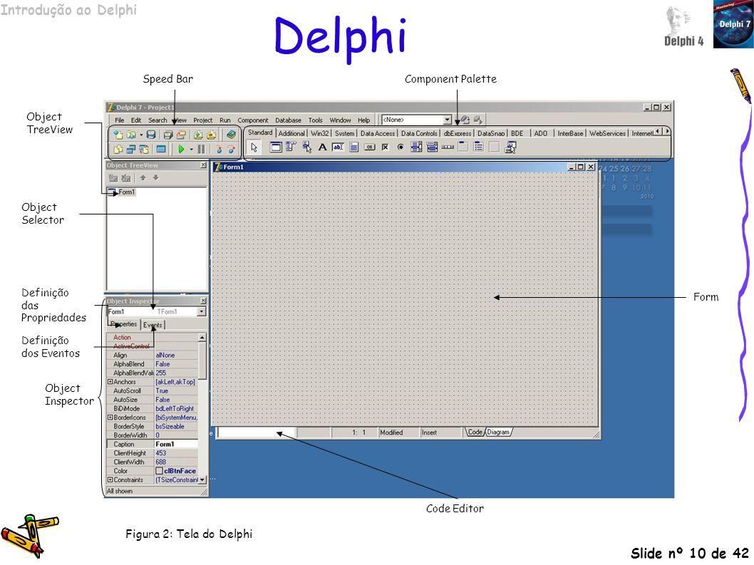 Introdução ao Delphi Slide nº 10 de 42 Delphi Object Inspector Definição das Propriedades Definição dos Eventos Speed Bar Form Code Editor Component P