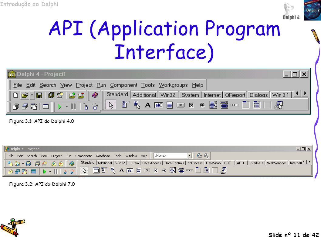 Introdução ao Delphi Slide nº 11 de 42 API (Application Program Interface) Figura 3.1: API do Delphi 4.0 Figura 3.2: API do Delphi 7.0