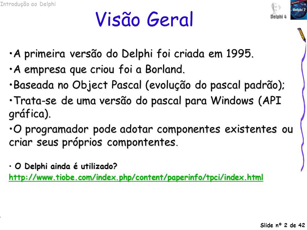 Introdução ao Delphi Slide nº 2 de 42 Visão Geral A primeira versão do Delphi foi criada em 1995.A primeira versão do Delphi foi criada em 1995. A emp