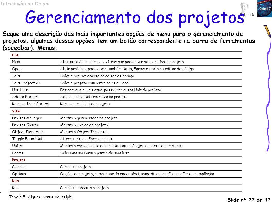 Introdução ao Delphi Slide nº 22 de 42 Gerenciamento dos projetos Segue uma descrição das mais importantes opções de menu para o gerenciamento de proj