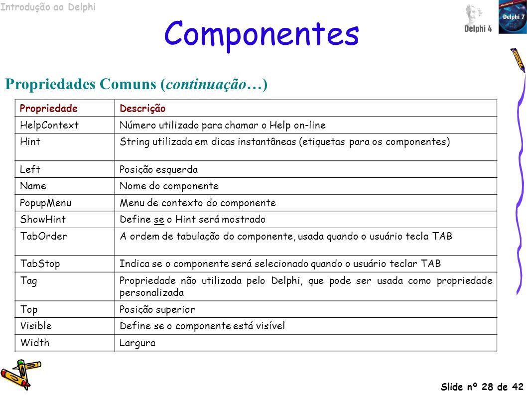 Introdução ao Delphi Slide nº 28 de 42 Componentes Propriedades Comuns (continuação…) PropriedadeDescrição HelpContextNúmero utilizado para chamar o H