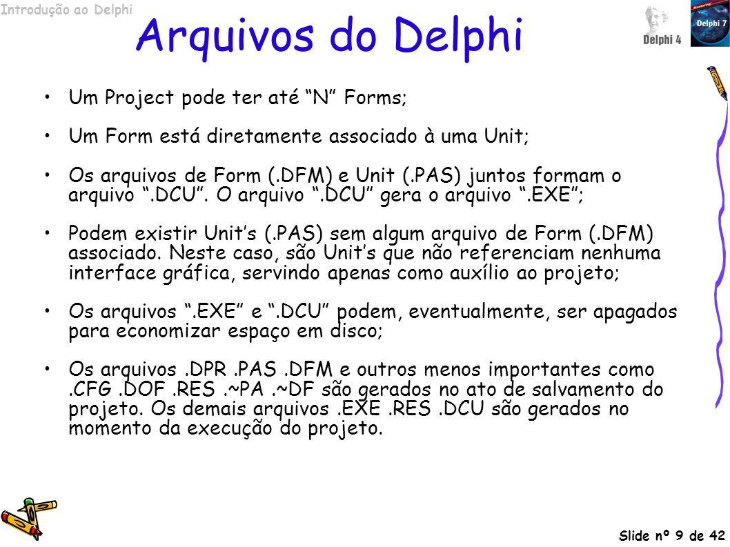 Introdução ao Delphi Slide nº 20 de 42 Estrutura dos projetos Um projeto em Delphi é dividido em módulos, chamados Units, seguindo a estrutura de arquivos descrita na tabela abaixo: ExtensãoDescrição DPRArquivo de projeto, onde são indicados as Units e o código de inicialização do programa PASCódigo fonte de uma Unit do projeto DCUUnit compilada DFMDefinição visual de um Form.