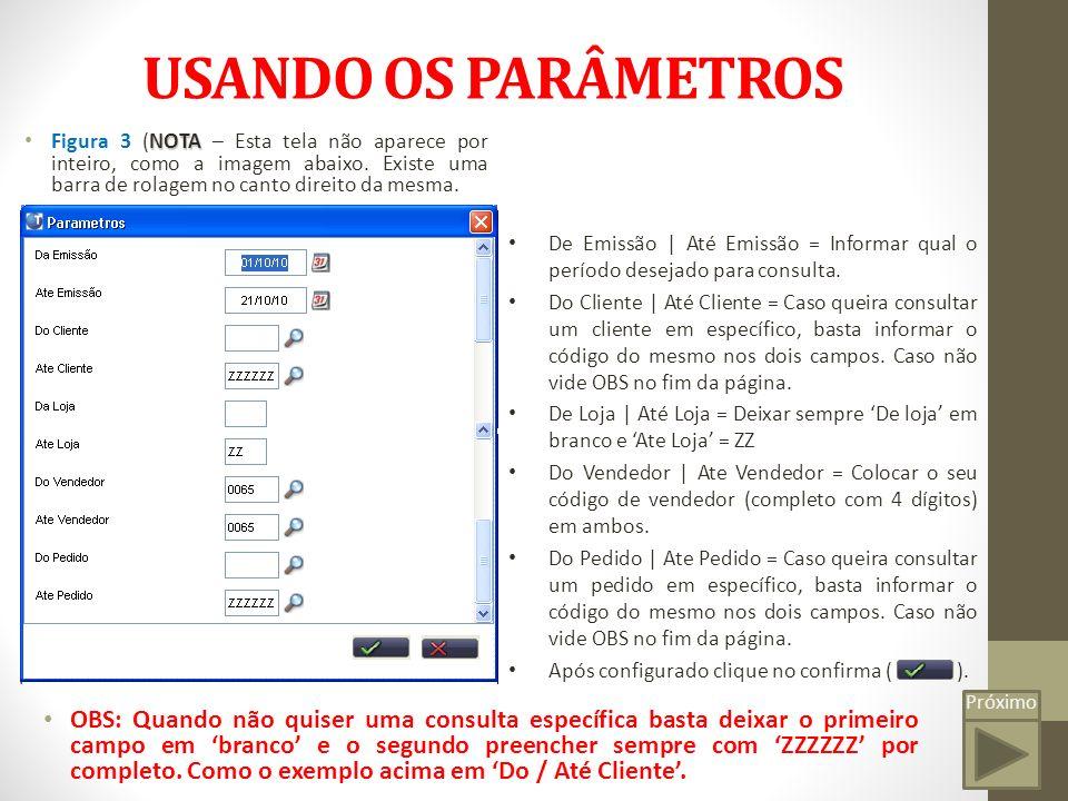 Próximo USANDO OS PARÂMETROS NOTA Figura 3 (NOTA – Esta tela não aparece por inteiro, como a imagem abaixo.