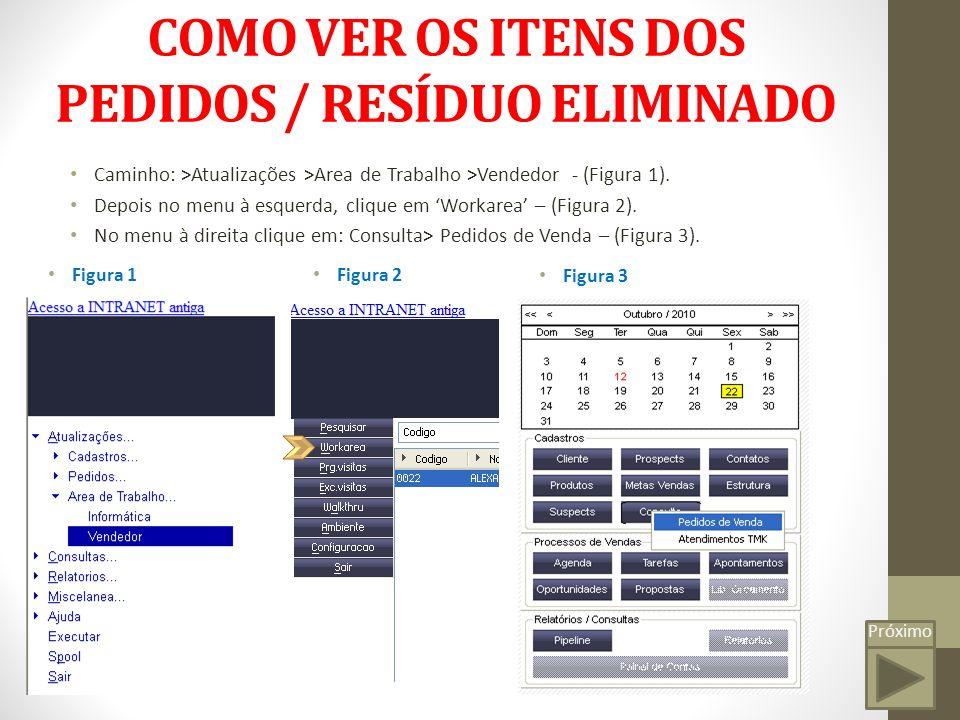 COMO VER OS ITENS DOS PEDIDOS / RESÍDUO ELIMINADO Caminho: >Atualizações >Area de Trabalho >Vendedor - (Figura 1).