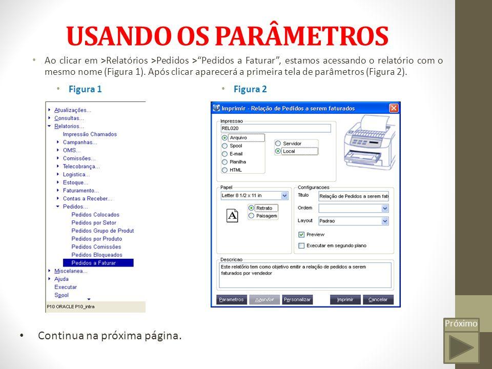 Próximo USANDO OS PARÂMETROS Figura 2 Nesta janela basta apenas marcar Arquivo e Local (como na figura 2) ou Spool e Local, pois ambos os métodos funcionam.