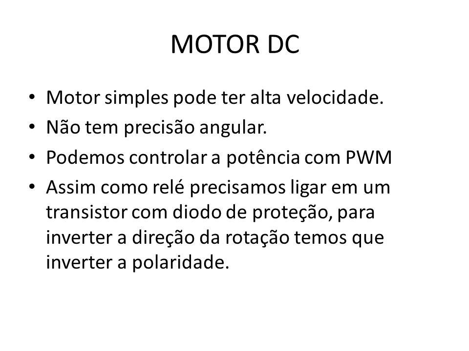 MOTOR DC Motor simples pode ter alta velocidade.Não tem precisão angular.