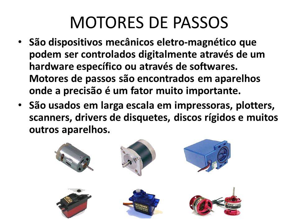 MOTORES DE PASSOS São dispositivos mecânicos eletro-magnético que podem ser controlados digitalmente através de um hardware específico ou através de softwares.