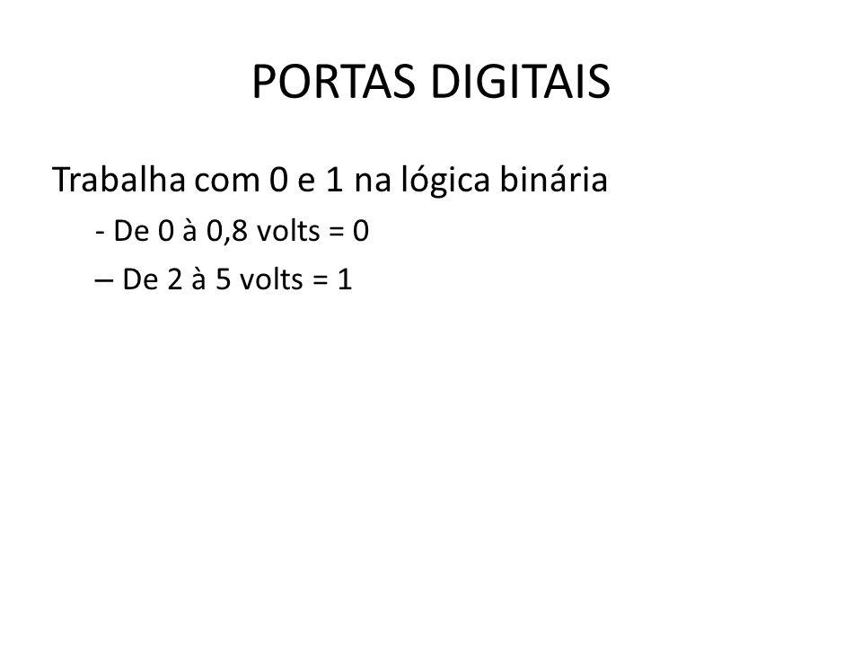 PORTAS DIGITAIS Trabalha com 0 e 1 na lógica binária - De 0 à 0,8 volts = 0 – De 2 à 5 volts = 1