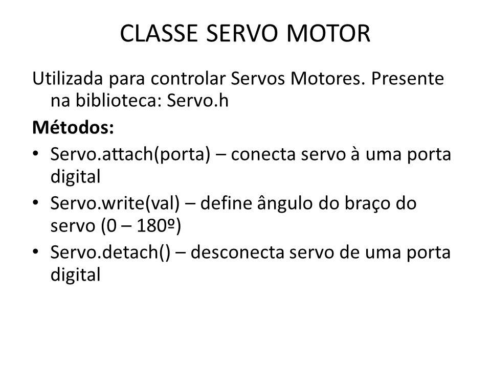 CLASSE SERVO MOTOR Utilizada para controlar Servos Motores.