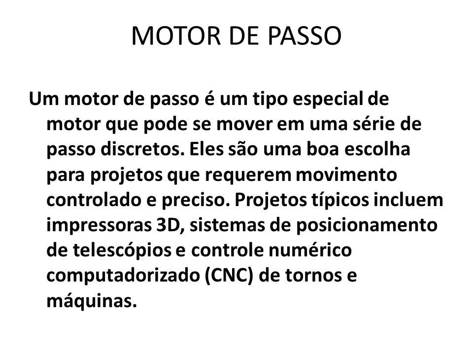 MOTOR DE PASSO Um motor de passo é um tipo especial de motor que pode se mover em uma série de passo discretos.