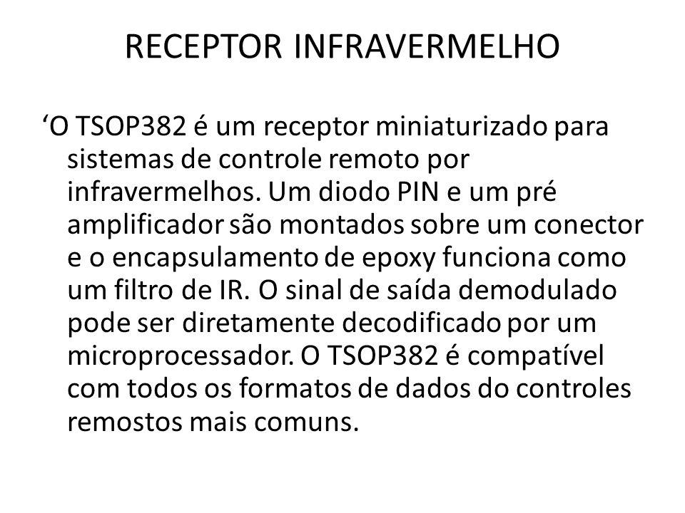 RECEPTOR INFRAVERMELHO O TSOP382 é um receptor miniaturizado para sistemas de controle remoto por infravermelhos.