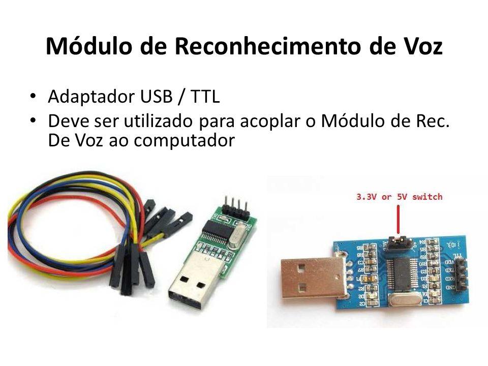 Módulo de Reconhecimento de Voz Adaptador USB / TTL Deve ser utilizado para acoplar o Módulo de Rec.