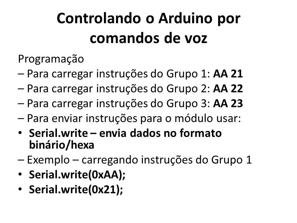 Controlando o Arduino por comandos de voz Programação – Para carregar instruções do Grupo 1: AA 21 – Para carregar instruções do Grupo 2: AA 22 – Para carregar instruções do Grupo 3: AA 23 – Para enviar instruções para o módulo usar: Serial.write – envia dados no formato binário/hexa – Exemplo – carregando instruções do Grupo 1 Serial.write(0xAA); Serial.write(0x21);