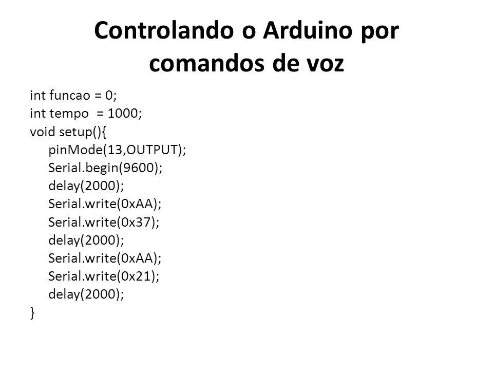 Controlando o Arduino por comandos de voz int funcao = 0; int tempo = 1000; void setup(){ pinMode(13,OUTPUT); Serial.begin(9600); delay(2000); Serial.write(0xAA); Serial.write(0x37); delay(2000); Serial.write(0xAA); Serial.write(0x21); delay(2000); }