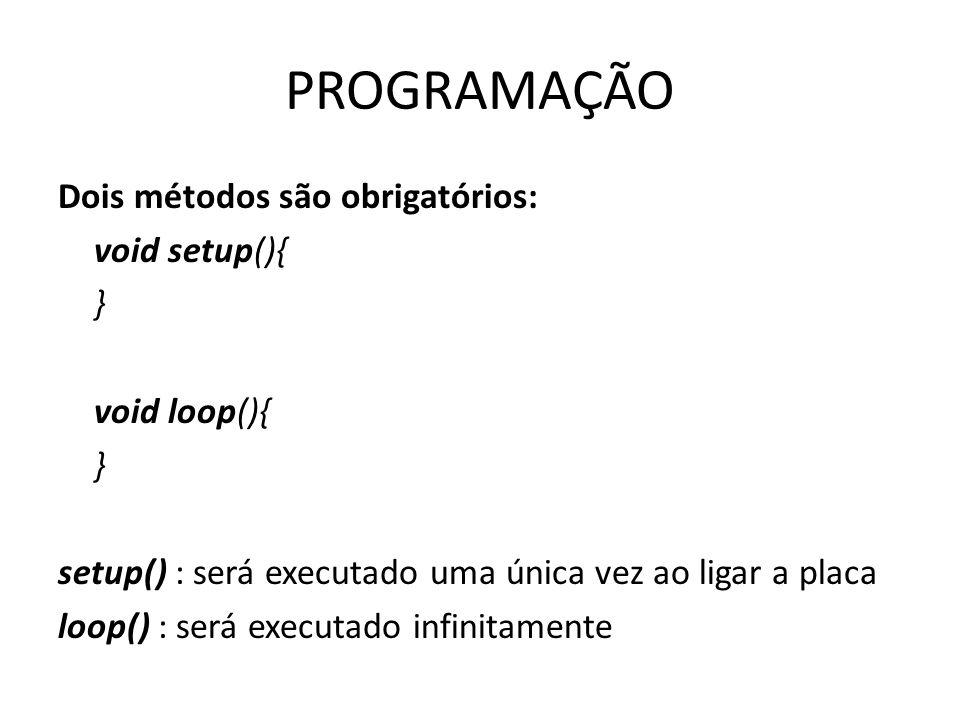 PROGRAMAÇÃO Dois métodos são obrigatórios: void setup(){ } void loop(){ } setup() : será executado uma única vez ao ligar a placa loop() : será executado infinitamente