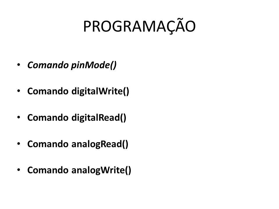 PROGRAMAÇÃO Comando pinMode() Comando digitalWrite() Comando digitalRead() Comando analogRead() Comando analogWrite()