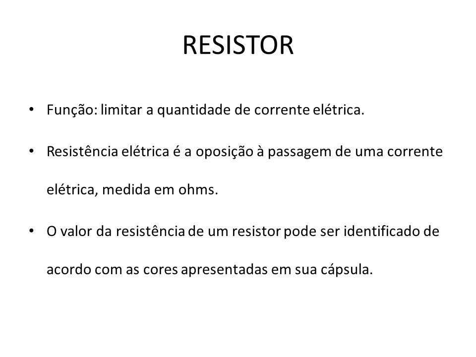 RESISTOR Função: limitar a quantidade de corrente elétrica.
