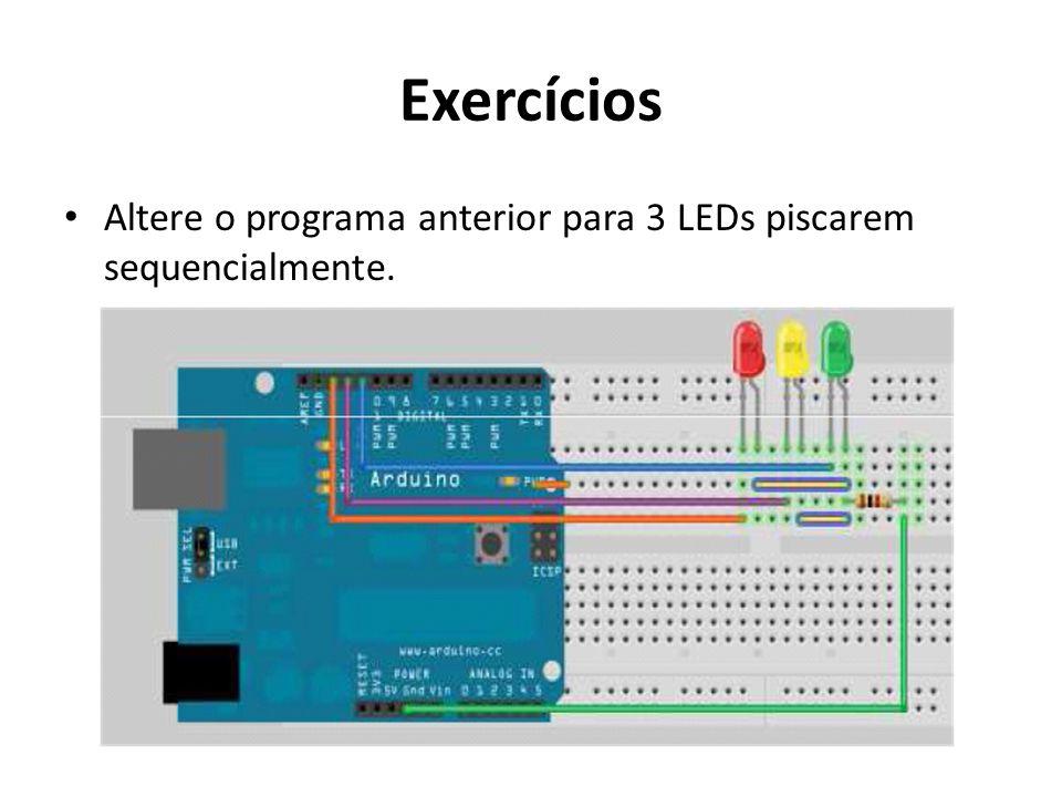 Exercícios Altere o programa anterior para 3 LEDs piscarem sequencialmente.