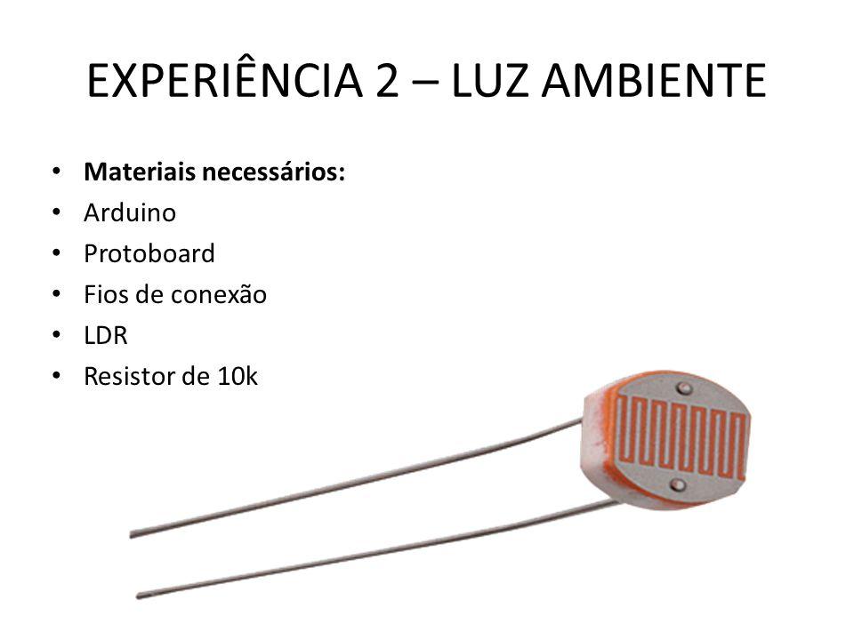 EXPERIÊNCIA 2 – LUZ AMBIENTE Materiais necessários: Arduino Protoboard Fios de conexão LDR Resistor de 10k