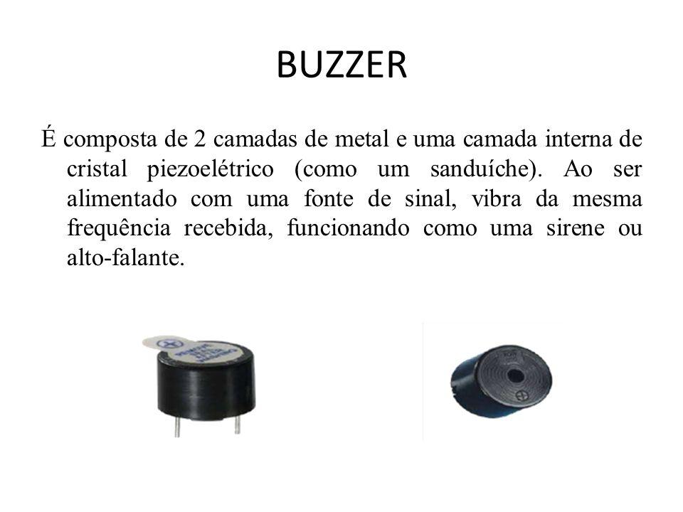 BUZZER É composta de 2 camadas de metal e uma camada interna de cristal piezoelétrico (como um sanduíche).