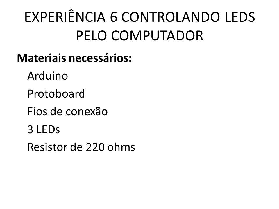 EXPERIÊNCIA 6 CONTROLANDO LEDS PELO COMPUTADOR Materiais necessários: Arduino Protoboard Fios de conexão 3 LEDs Resistor de 220 ohms