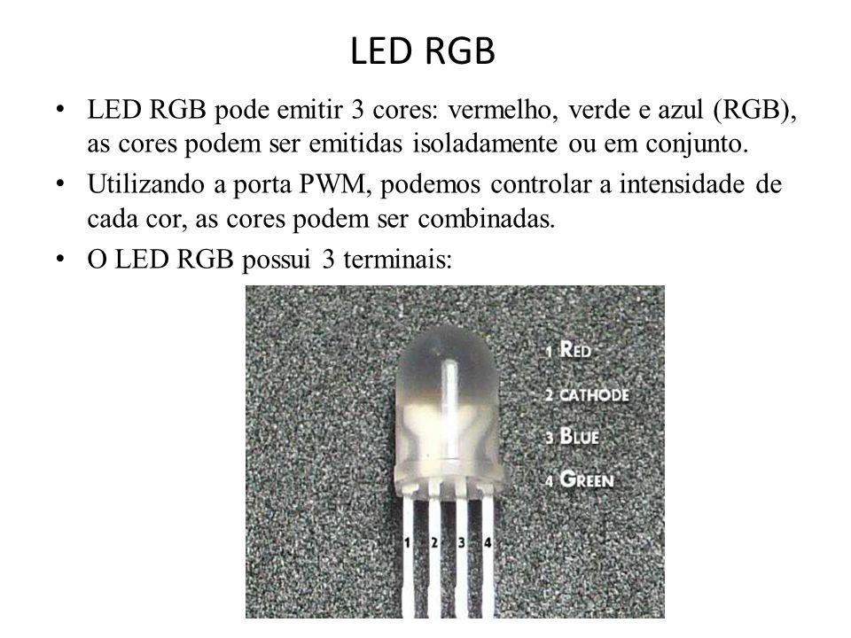 LED RGB LED RGB pode emitir 3 cores: vermelho, verde e azul (RGB), as cores podem ser emitidas isoladamente ou em conjunto.