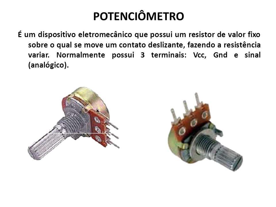 POTENCIÔMETRO É um dispositivo eletromecânico que possui um resistor de valor fixo sobre o qual se move um contato deslizante, fazendo a resistência variar.