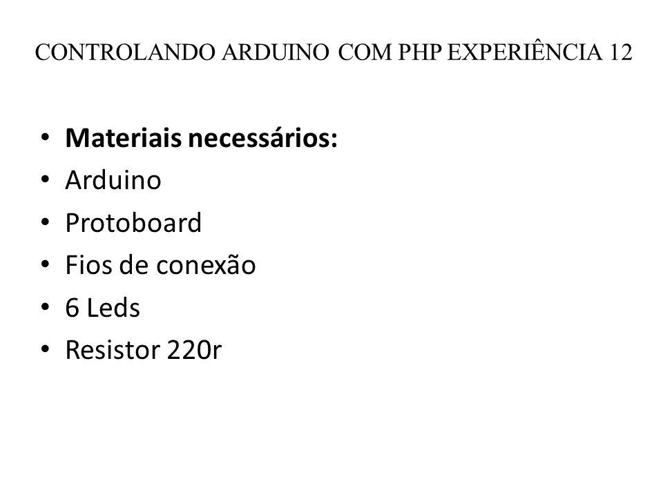 CONTROLANDO ARDUINO COM PHP EXPERIÊNCIA 12 Materiais necessários: Arduino Protoboard Fios de conexão 6 Leds Resistor 220r