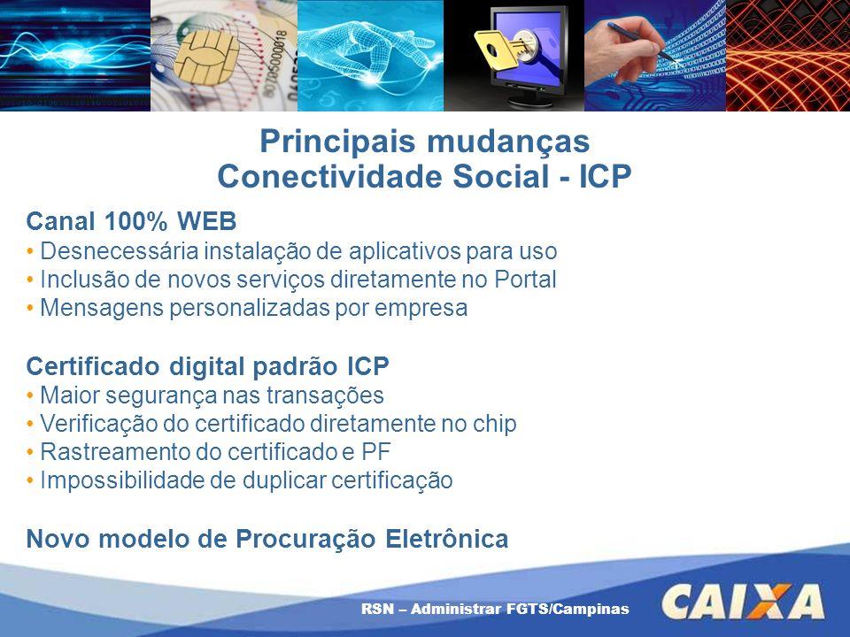 RSN – Administrar FGTS/Campinas Principais mudanças Conectividade Social - ICP Canal 100% WEB Desnecessária instalação de aplicativos para uso Inclusã