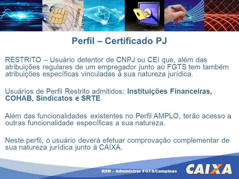 RSN – Administrar FGTS/Campinas Perfil – Certificado PJ RESTRITO – Usuário detentor de CNPJ ou CEI que, além das atribuições regulares de um empregado