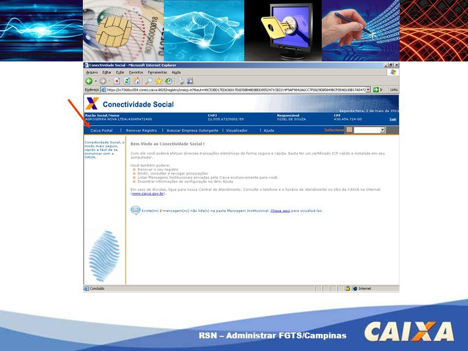 RSN – Administrar FGTS/Campinas Como usar a Procuração