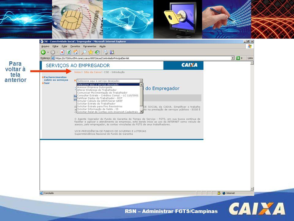 RSN – Administrar FGTS/Campinas Para voltar à tela anterior