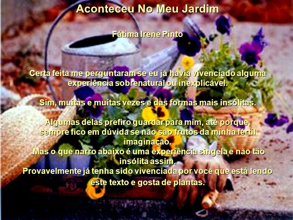 Aconteceu No Meu Jardim Fátima Irene Pinto Certa feita me perguntaram se eu já havia vivenciado alguma experiência sobrenatural ou inexplicável.