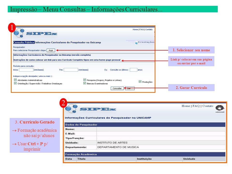 1 Impressão – Menu Consultas – Informações Curriculares... 1. Selecionar seu nome 2. Gerar Currículo Link p/ colocar em sua página ou enviar por e-mai