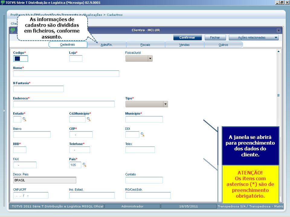 As informações de cadastro são divididas em ficheiros, conforme assunto. A janela se abrirá para preenchimento dos dados do cliente. ATENÇÃO! Os itens