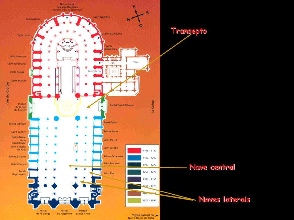 Plano da abside da Notre Dame de Paris, tal qual era antes do acréscimo das capelas do s. XIV.
