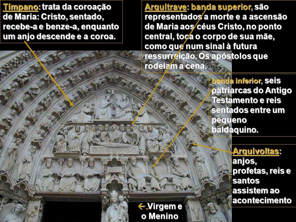 2. Portal da Virgem O portal da esquerda Neste portal o volume corporal é mais acentuado e a representação mais realista, em oposição ao abstracionism