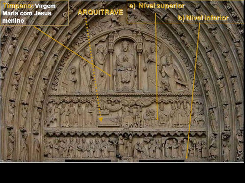 O tímpano, representa a Virgem Maria com Jesus menino.