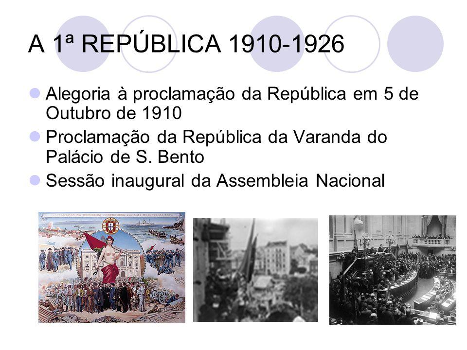 A 1ª REPÚBLICA 1910-1926 Alegoria à proclamação da República em 5 de Outubro de 1910 Proclamação da República da Varanda do Palácio de S. Bento Sessão
