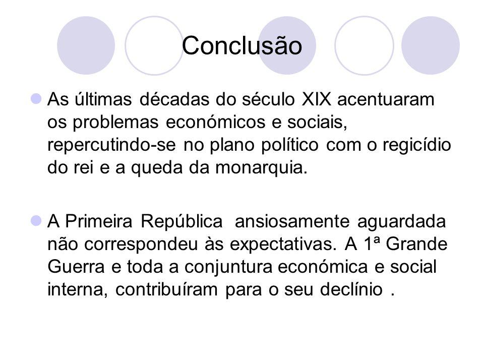 Conclusão As últimas décadas do século XIX acentuaram os problemas económicos e sociais, repercutindo-se no plano político com o regicídio do rei e a