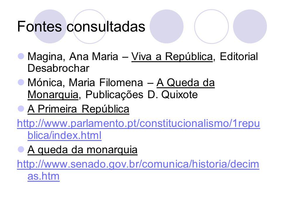 Fontes consultadas Magina, Ana Maria – Viva a República, Editorial Desabrochar Mónica, Maria Filomena – A Queda da Monarquia, Publicações D. Quixote A