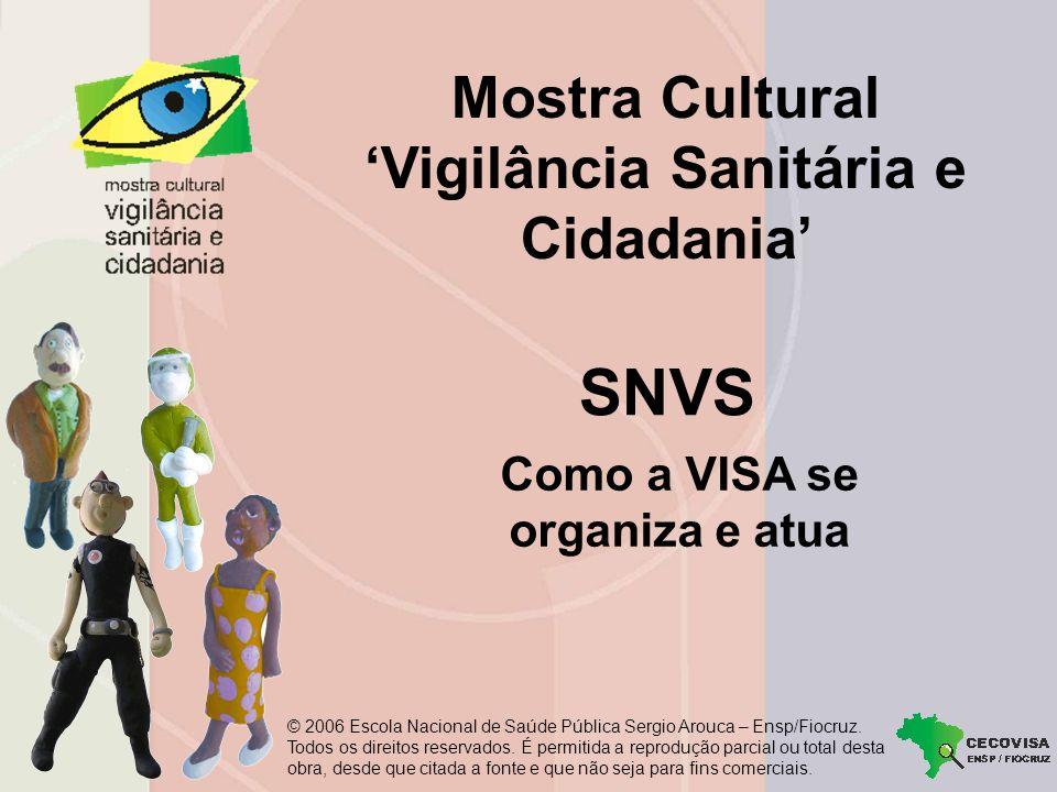 Mostra Cultural Vigilância Sanitária e Cidadania Como a VISA se organiza e atua SNVS © 2006 Escola Nacional de Saúde Pública Sergio Arouca – Ensp/Fiocruz.