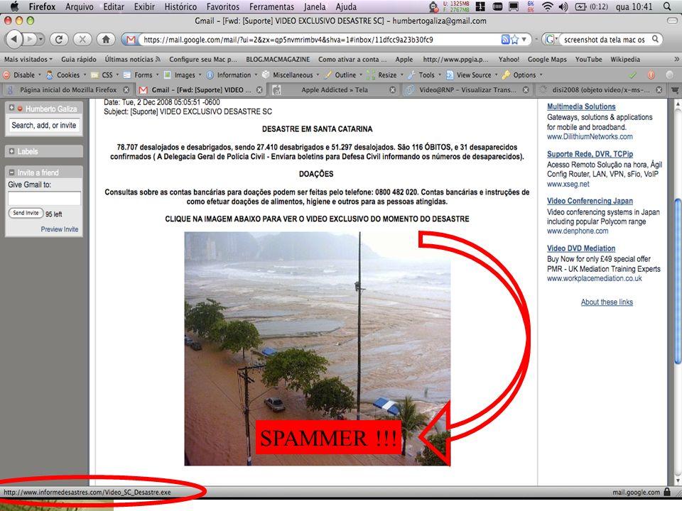 Contribuindo para a segurança da sua organização (seja responsável!) Identificando golpes virtuais: SPAMMER !!!