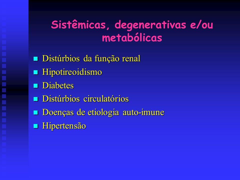 Sistêmicas, degenerativas e/ou metabólicas Distúrbios da função renal Distúrbios da função renal Hipotireoidismo Hipotireoidismo Diabetes Diabetes Dis