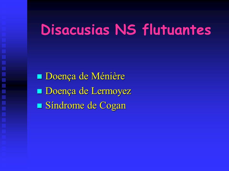 Disacusias NS flutuantes Doença de Ménière Doença de Ménière Doença de Lermoyez Doença de Lermoyez Síndrome de Cogan Síndrome de Cogan