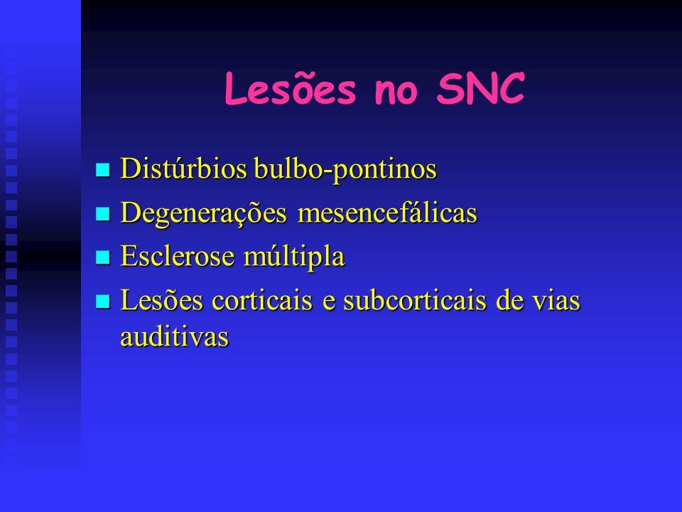 Lesões no SNC Distúrbios bulbo-pontinos Distúrbios bulbo-pontinos Degenerações mesencefálicas Degenerações mesencefálicas Esclerose múltipla Esclerose