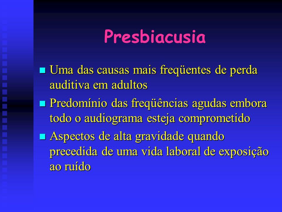 Presbiacusia Uma das causas mais freqüentes de perda auditiva em adultos Uma das causas mais freqüentes de perda auditiva em adultos Predomínio das fr