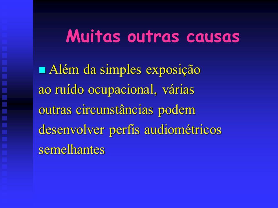 Muitas outras causas Além da simples exposição Além da simples exposição ao ruído ocupacional, várias outras circunstâncias podem desenvolver perfis a