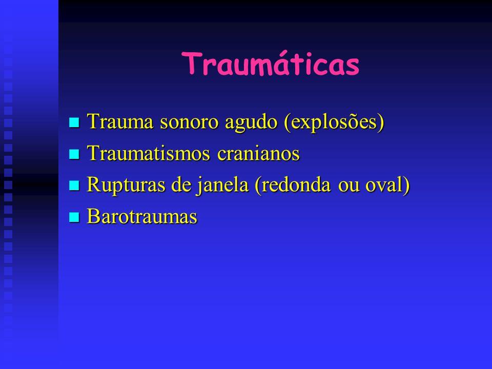 Traumáticas Trauma sonoro agudo (explosões) Trauma sonoro agudo (explosões) Traumatismos cranianos Traumatismos cranianos Rupturas de janela (redonda