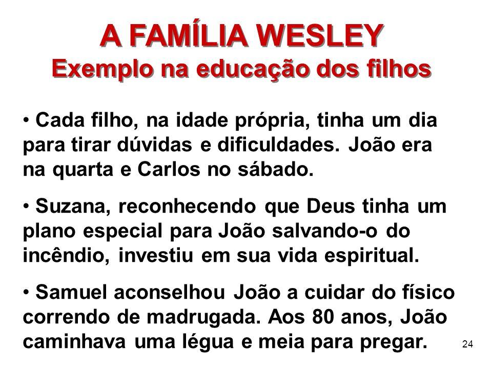 24 A FAMÍLIA WESLEY Exemplo na educação dos filhos A FAMÍLIA WESLEY Exemplo na educação dos filhos Cada filho, na idade própria, tinha um dia para tir